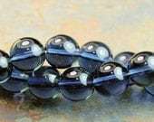 Czech Glass 12mm Translucent  Round Montana Blue Druk Beads -12 Czech Beads