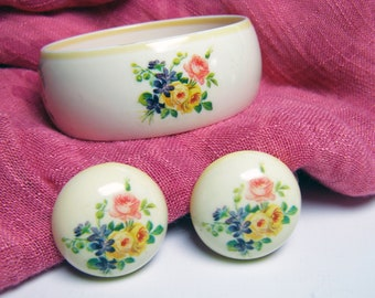 Floral Bangle Bracelet and Earrings (SET) signed Western Germany - Vintage Plastic with Floral Fun for Summer
