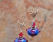 Chandelier Earrings Artisan Glass Bead- Periwinkle and Hot Pink - SRA Artisan Handmade