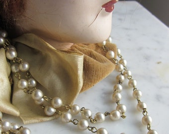 One And A Half Yards Vintage  Round Glass  Pearl  Chain