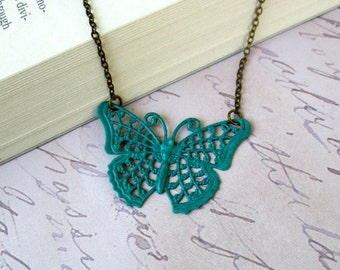 Turquoise butterfly necklace- Turquoise filigree butterfly-Filigree necklace-Verdigris butterfly necklace- Bib necklace