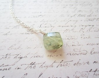 Light Green Prehnite Necklace, Green Necklace, Green Jewelry, Swedish Jewelry Design, Made in Sweden, Scandinavian Jewelry