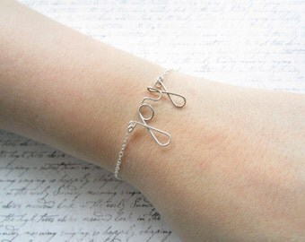 Silver Wire Bracelet, Joy Bracelet, Christmas Bracelet, Swedish Jewelry, Scandinavian Design, Made in Sweden