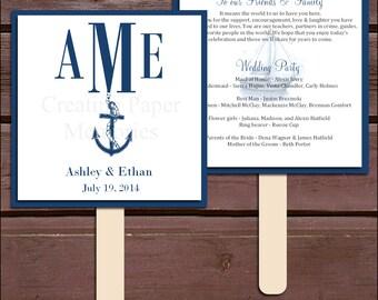 Nautical Beach Program Fans Kit -  Printing Included. Wedding ceremony programs