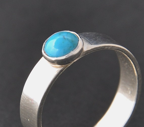 Turquoise Ring handmade with sterling silver, Natural Turquoise 6 mm gemstone with silver bezel setting on a wide silver band. Made to order