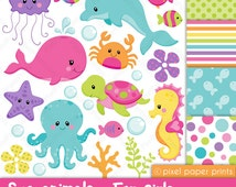 Sea animals for girls - Clip art and Digital paper set