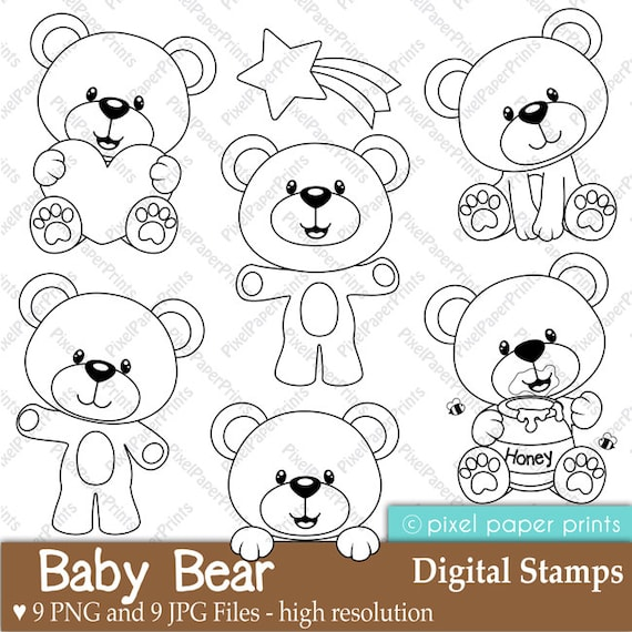 Baby Bear Digital Stamps