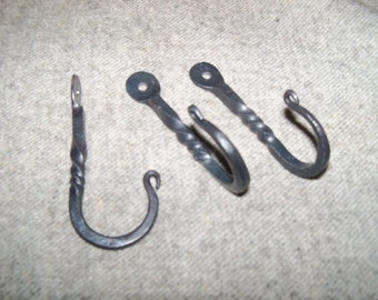 Set of 3 Hand Forged Decorative Hooks with Twist-Hang Towels, Coats, Lots more