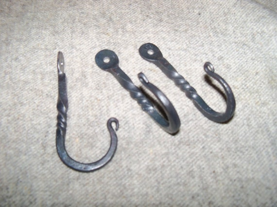 set of 3 hand forged decorative hooks with twist hang towels