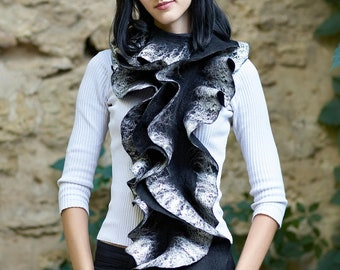 Black swan Handmade felted Long ruffle felted scarf Jabot Neck warmer Made to order