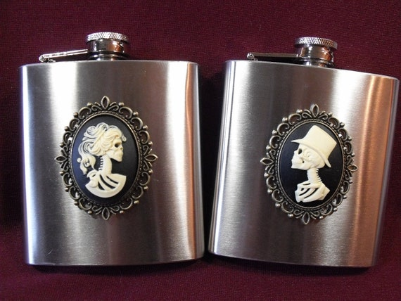 Flask,  Gothic Bride and Groom Cameos Wedding Gift, Mens Womens Gift  Handmade