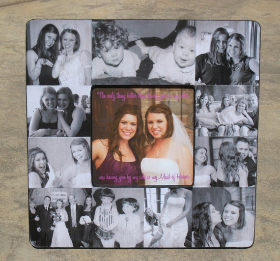 """Personalized Sister Gift, Maid of Honor Picture Frame, Custom Collage Bridesmaid Frame, Bridal Shower Gift Frame, Parent Gift, 8"""" x 8"""""""