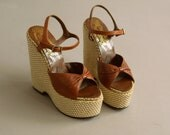 Ultra Iconic Original Sky High Brown Leather Platform Sandals 70's Wonder Wedge by Bonnie Smith for Kimel
