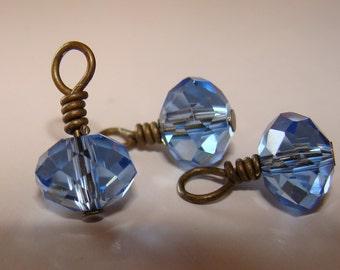 Sky blue crystal bead drop dangles
