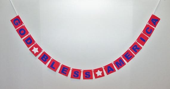 GOD BLESS AMERICA banner garland bunting patriotic decor photo prop