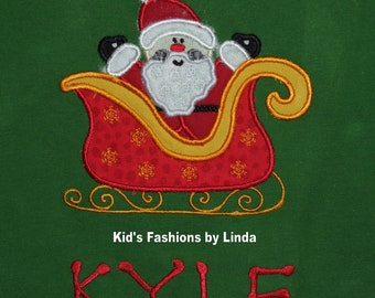 Personalized Green Santa in Sleigh Long Sleeve  Tshirt