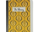 """Pretty Leaf Patterned Jotter, Captioned """"The Skinny"""", Black, Warm Yellow, Blank Pages"""