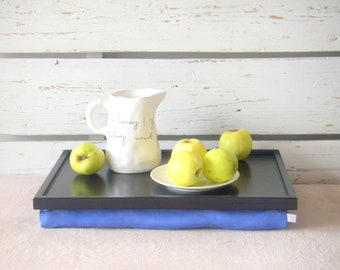 Breakfast serving or Laptop Lap Desk- Black with Blue Linen farbric