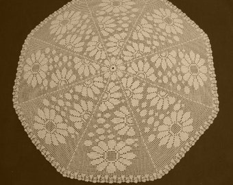 Round crocheted doily / Lace tablecloth / Ecru table topper / 35 inches / Home decor / Table Decoration