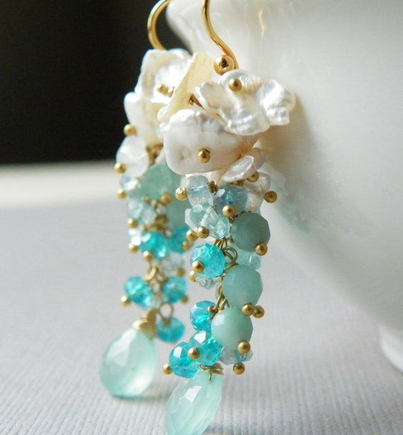 Pearl Cluster Earrings with 14k Gold. Aqua Gemstone Earrings. Statement Earrings. Pearl Earrings.