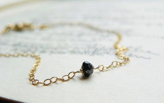 Black Diamond Bracelet Wrapped in 14k Gold. Simple Black Bracelet. Gifts For Her.