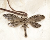 Dragonfly Pendant . Big . Antique brass . Faux leather ribbon . Adorable . Christmas . LAST ONE
