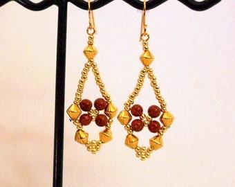 Handwoven Goldstone & Gold Earrings