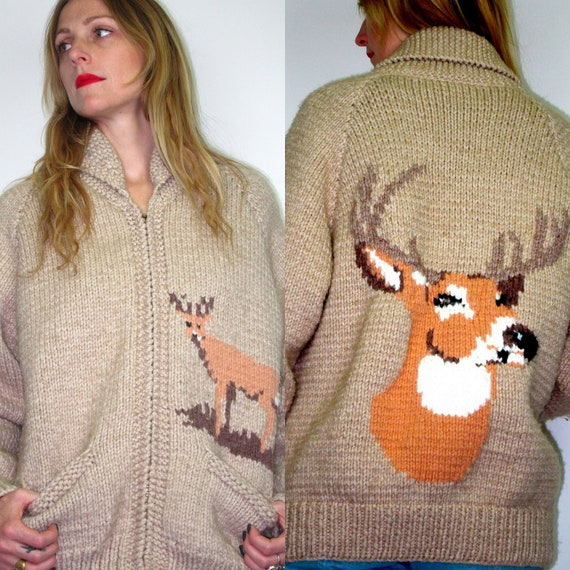70s Tan Wool Grandpa COWICHAN DEER Knit Sweater ZIp Coat Mens Oversized Jacket Boho