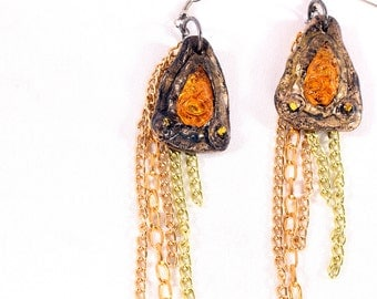 Party Dangle Earrings,  ancient relic look,  long yellow, gold, green chain, pierced ears