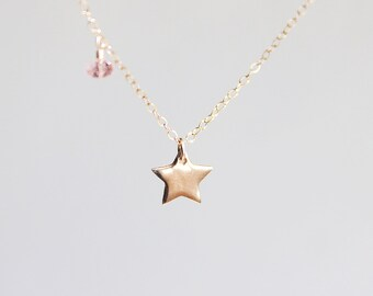 Gold Star Necklace - shiny star charm with customizable accent on14 karat gold filled chain
