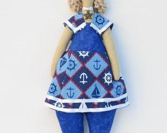 Rag doll sailor fabric doll stuffed doll blue blonde cloth doll plush aquatic doll softie nautical nursery decor doll
