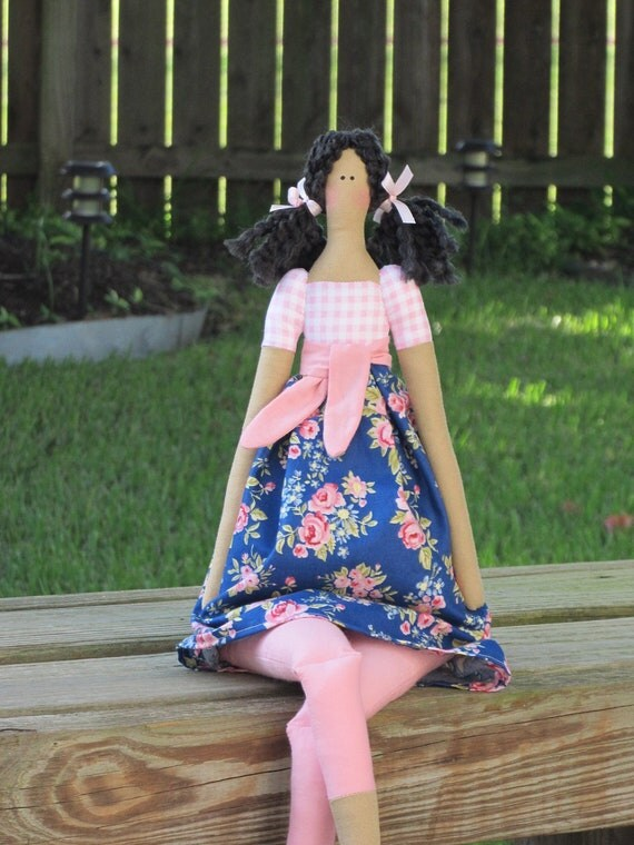 Cute fabric doll in blue and pink rose dress brunette - Handmade cloth doll - stuffed doll summer doll,art doll- gift for girls