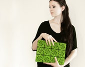 Lime green lace black clutch -  fashion, large purse, hand painted accessory OOAK
