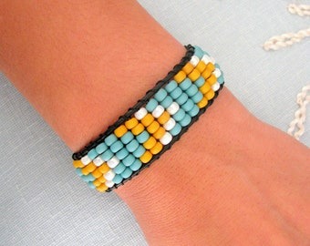 Beaded Chevron Bracelet with Black Leather and Button Clasp