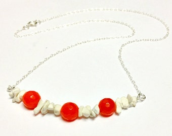 Orange Jade Necklace White Turquoise Jewelry Sterling Silver Jewellery Gemstone Boho Chain Neon Modern University of Texas
