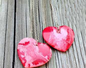 Coral Necklace - Red Valentine Heart Jewelry - Gemstone Pendant Jewellery - Sterling Silver - Long - Love
