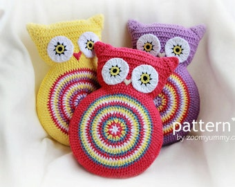 Crochet Pattern - Crochet Owl Cushion (Pattern No. 007) - INSTANT DIGITAL DOWNLOAD