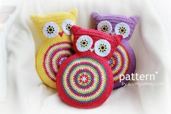 Patrón de ganchillo Crochet el buho cojín patrón Nº por ZoomYummy