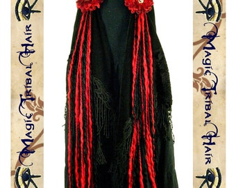 goth TRIBAL Fusion Belly Dance accessory hip & HAIR TASSELS Vampirella red black Yarn Hair Falls jewelry Fantasy costume witch vampire demon