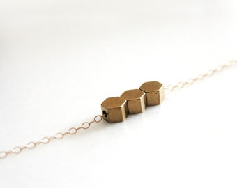 Honeycomb Necklace // Gold or Silver