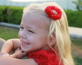 Red Flower Clip, Red Folded Flower, Red Hair Bow, Red Flower with Sparkle