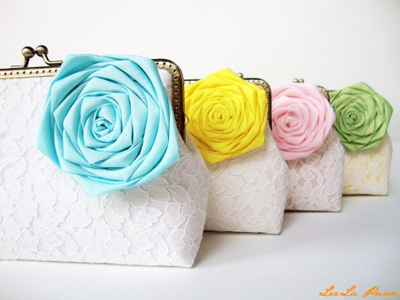 Vintage Inspired / 4 Wedding Clutches, blue, yellow, pink and lime green/ personalized your bridesmaids gifts/Shabby Chic