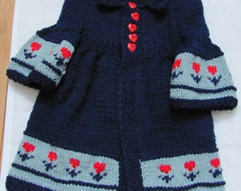 Summer sale Baby Coat,  3 to 12 mo. Jacquard  Merino wool Made by order SALE