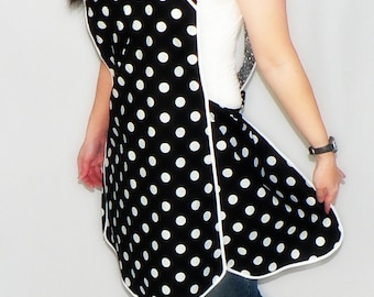 Retro 50s Smock Apron - Black and White Polka Dot - vintage style apron, made-to-order XS to Plus Size, H-back style sits on shoulders