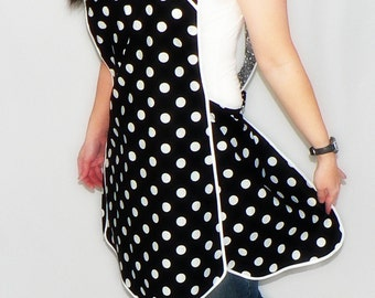 Retro 50s Smock Apron - Black and White Polka Dot - vintage style apron, made-to-order XS to Plus Size