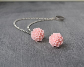 Sweet Pink Mums Silver Double Chain Ear Cuff Earrings (Pair)