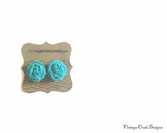 turquoise  mini rosette earrings, turquiose flower studs, summer fashion earrings, bridesmaid gifts, fabric flower earrings, summer  trends