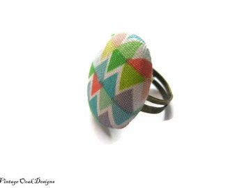 statement ring, fabric button ring, fabric ring, Fabric jewelry ,minimalist jewelry, Button ring, button jewelry,textile ring, colorful ring