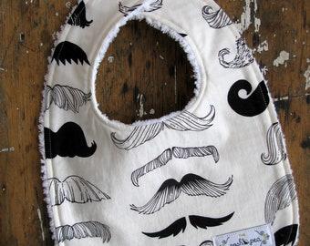 "Chenille Baby Boy Bib - Moustache in Black & Off-White - ""Where's my Stache"""