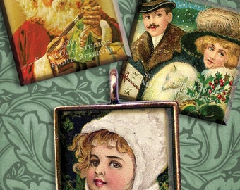 Antique Victorian Christmas - 1x1 inch Square Images - Digital Collage Sheet - Instant Download and Print